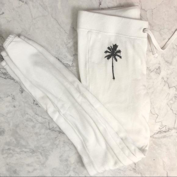 Pam & Gela Pants - Pam & Gela white palm tree sweatpants